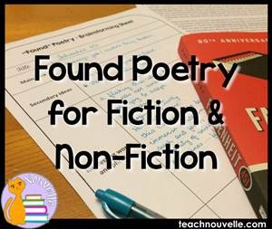 Found Poetry is a great way to engage students in a text by asking them to transform it into something new - a poem! This activity can be used with fiction or non-fiction on a range of texts. Find out more at teachnouvelle.com