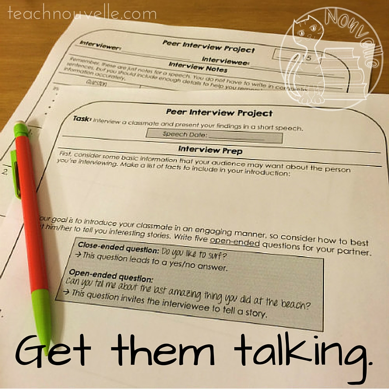 Get students speaking and listening with this great back to school project. In the Peer Interview Speech, students focus on developing open-ended questions to get their classmates to share amazing stories. Find out more at teachnouvelle.com.