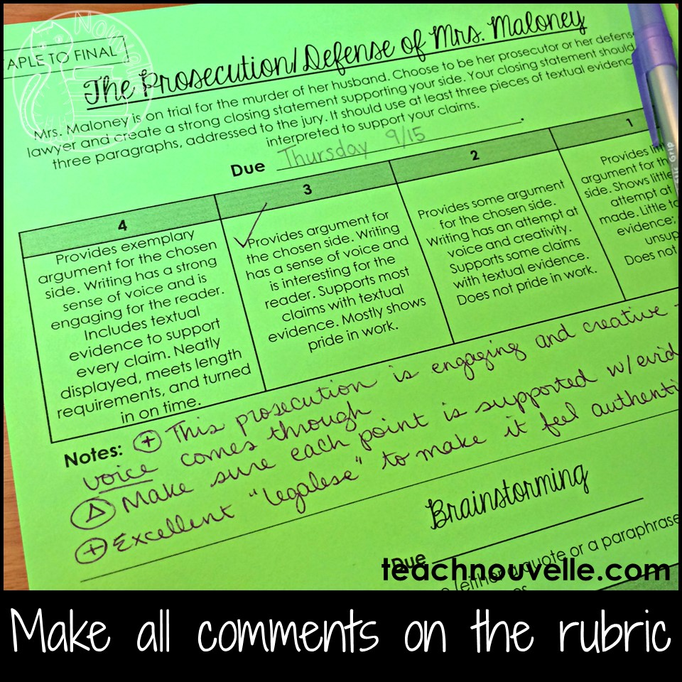 Make grading easier by only writing on the rubric. By writing focused comments on the rubric, you'll reduce your grading time while still assuring that your students receive valuable feedback. Read more at the blog post.