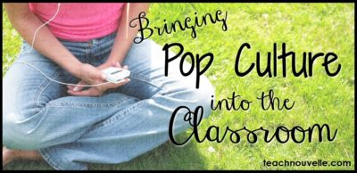 "Pop Culture in ELA Every year, I surprise my students by pulling pop culture into the ELA classroom. They act surprised at first and seem to think that I'm pulling their leg or making fun of them, but that it far from the case. It's important to use pop culture in ELA because it helps students understand why they're studying English in the first place. Let's back up. Why is English class important? There are many possible answers here – teaching students to communicate, helping students explore classics, exposing students to a wide range of stories, etc. I firmly believe that understanding archetypes, language, and form will help students connect to a cultural heritage (or several!) and make them better humans through empathy. If we can walk around in a character's skin, we are one step closer to understanding another human and thus one step closer to world peace. Yeah, that's a lot of pressure to put on an ELA teacher. I think that storytelling in any form is a great joy and that words have amazing power. I am obsessed with Shakespeare and T.S. Eliot, but I'm also obsessed with Ke$ha and Avatar: The Last Airbender and anything Kiera Cass has written. We are shaped by the intersections of these stories, and that's why it's so important to include pop culture in ELA. Consider this Ke$ha lyric: ""Dirt and glitter cover the floor. We pretty and sick. We're young and we're bored."" This lyric is so beautiful and evocative to me, and I've had this line go through my head while reading E. Lockhart's We Were Liars as well as Poe's ""Masque of the Red Death"". I think students deserve to know that, instead of me pretending that Ke$ha is not a brilliant storyteller just because she's not in the cultural canon (yet). We need to validate the stories and we need to validate the knowledge. It may take a long time for your 10th graders to connect to Hester Prynne, but they may connect more quickly to Alex Parrish from Quantico or any of the handful of ostracized characters in Gossip Girl. Another great tool for using pop culture in ELA and really honing students' awareness of any genre is by using tropes. A trope is any overused theme or device, and once you see one, you can't unsee one. A great source for starting to explore these with (older) students is TV Tropes. For example, consider the trope ""Helmets Are Hardly Heroic"": ""In any work where a hero wears armor, whether powered or otherwise, the helmet is almost never worn even in combat. In Real Life the helmet is the most important piece of personal armor ever invented besides the shield, since the skull and the brain inside are highly vulnerable to all kinds of weapon blows and projectiles. So why does a character who has access to a helmet rarely use it?"" -from TV Tropes First, start by simply proposing the idea to your students and see if they can name some examples from movies and television. Then, use this to segue into a bigger conversation of the role of stories: *Why would directors make this no-helmets choice? *Why does the audience suspend their disbelief (or not)? *What would change if heroes did wear helmets? Lastly, you can use pop culture in ELA very deliberately by using games. I LOVE trivia, so I have an ongoing trivia game to use with my students. You can find this game in my TeachersPayTeachers store. What are your favorite ways to use pop culture in ELA? Leave your ideas in comments and be sure to sign up for our monthly newsletter!"