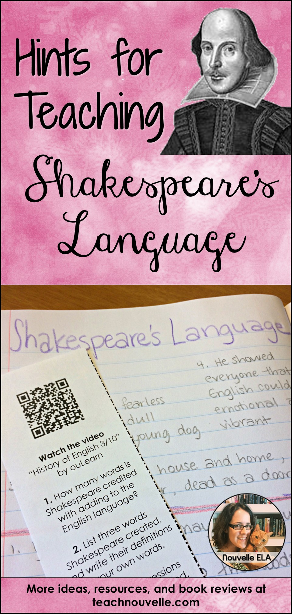 Help students understand Shakespeare's Language by breaking down the process. Use these engaging activities to introduce the vocabulary, grammar, and rhythms used in his language. Students will also explore Shakespeare's influence on the English language and do some translation. Blog post.