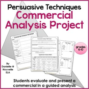 Commercial Analysis Project by Nouvelle ELA - TeachersPayTeachers