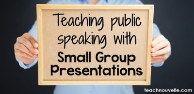 Teach Public Speaking with small group presentations. Smaller audiences boost speaker confidence, keep audience members engaged and accountable, and improve usage of class time. Blog post.
