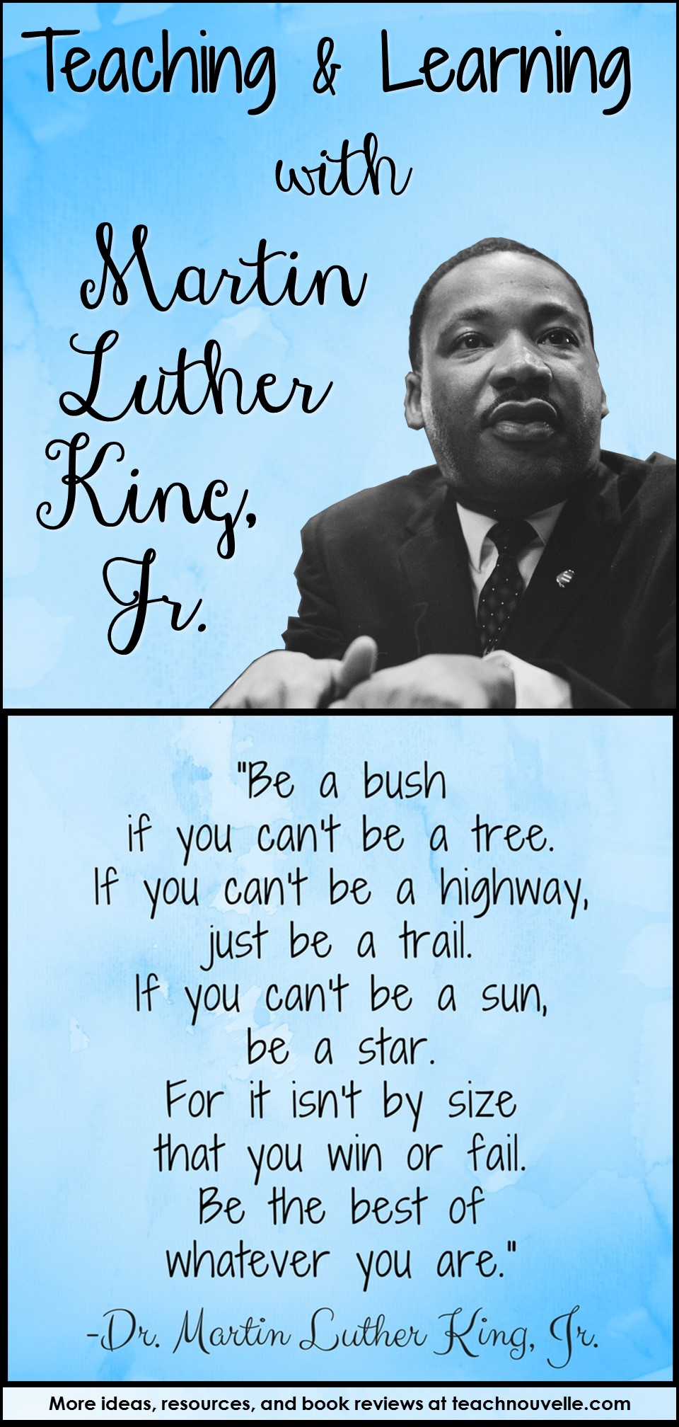 "Martin Luther King Jr.'s famous ""What is Your Life's Blueprint?"" speech urges us to stand up and get going! This speech is perfect for motivating middle school and high school students (and teachers, too!) to take action and choose a direction for their lives. Blog post from teachnouvelle.com."