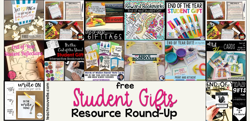 Free End of the Year Gifts for Secondary Students. (resource round-up at teachnouvelle.com)