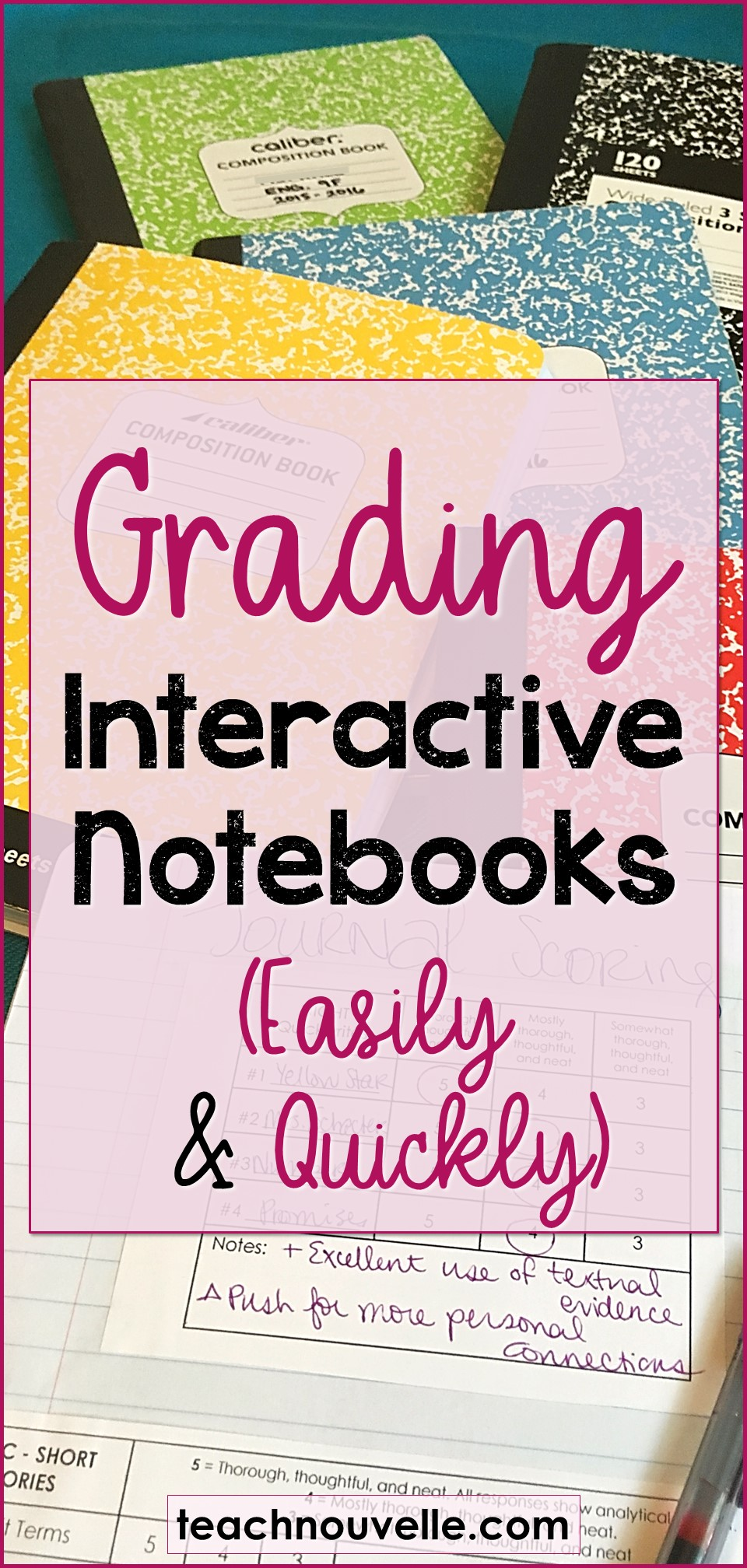 Here are three tips for grading interactive notebooks quickly and easily, even in a high school ELA classroom. This blog post contains actionable steps you can take today, along with a freebie to focus your grading. (teachnouvelle.com)