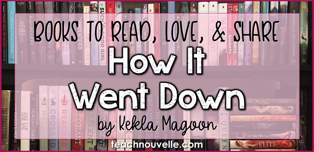 How It Went Down by Kekla Magoon is a careful, thought-provoking portrait of the aftermath of a shooting, making it a strong choice for a high school read-aloud and discussion starter. Jack Franklin, white, thinks he's doing a good deed when he shoots and kills sixteen-year-old Tariq Johnson (black) as he leaves a convenience store. But what really happened? We find out in How It Went Down.