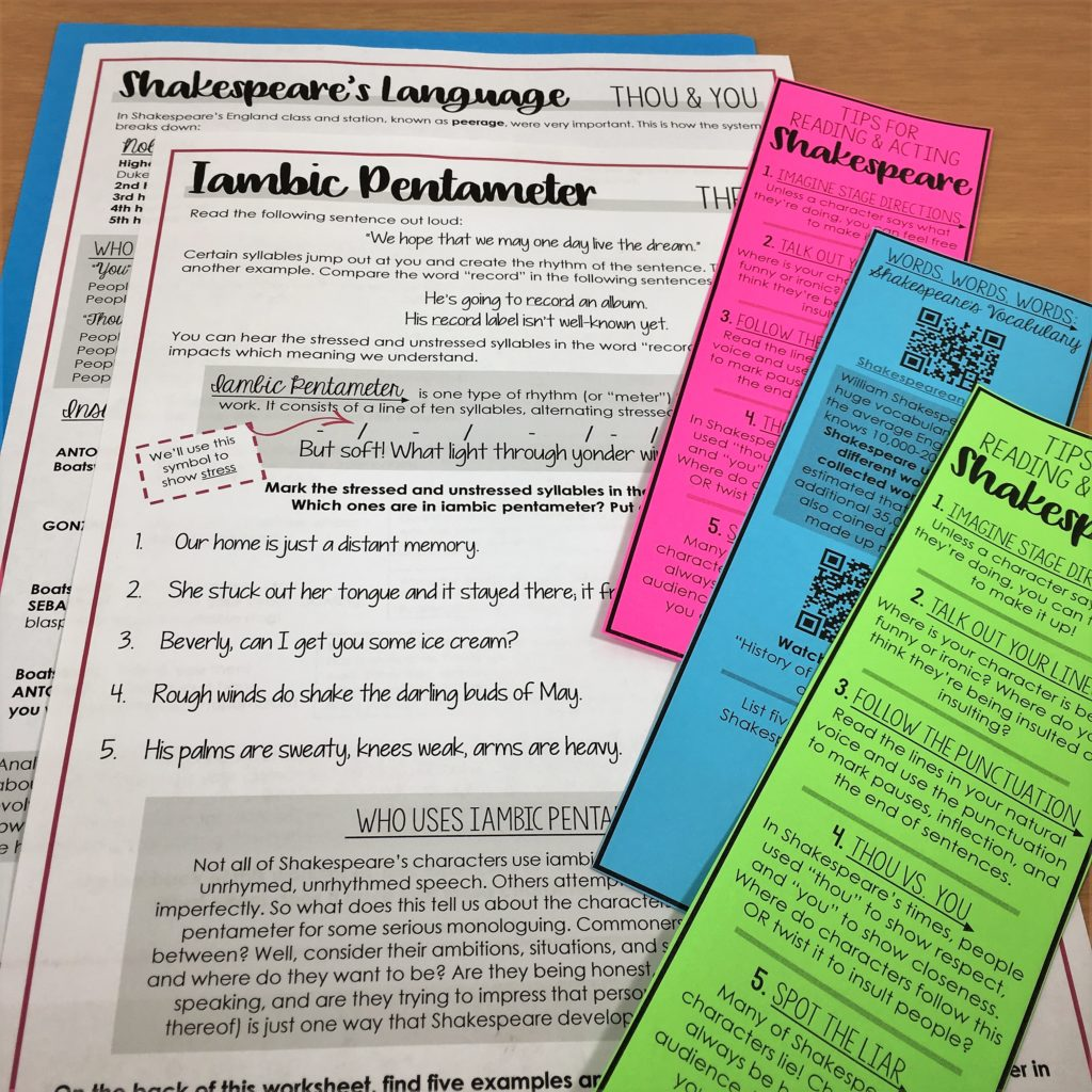 Shakespeare's Language Worksheets and Bookmarks preview