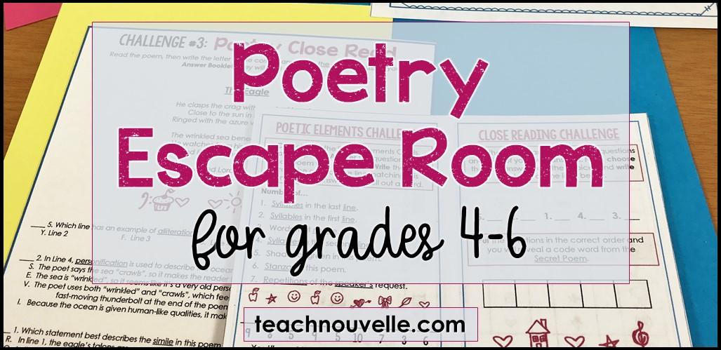 Poetry Escape Room grades 4-6