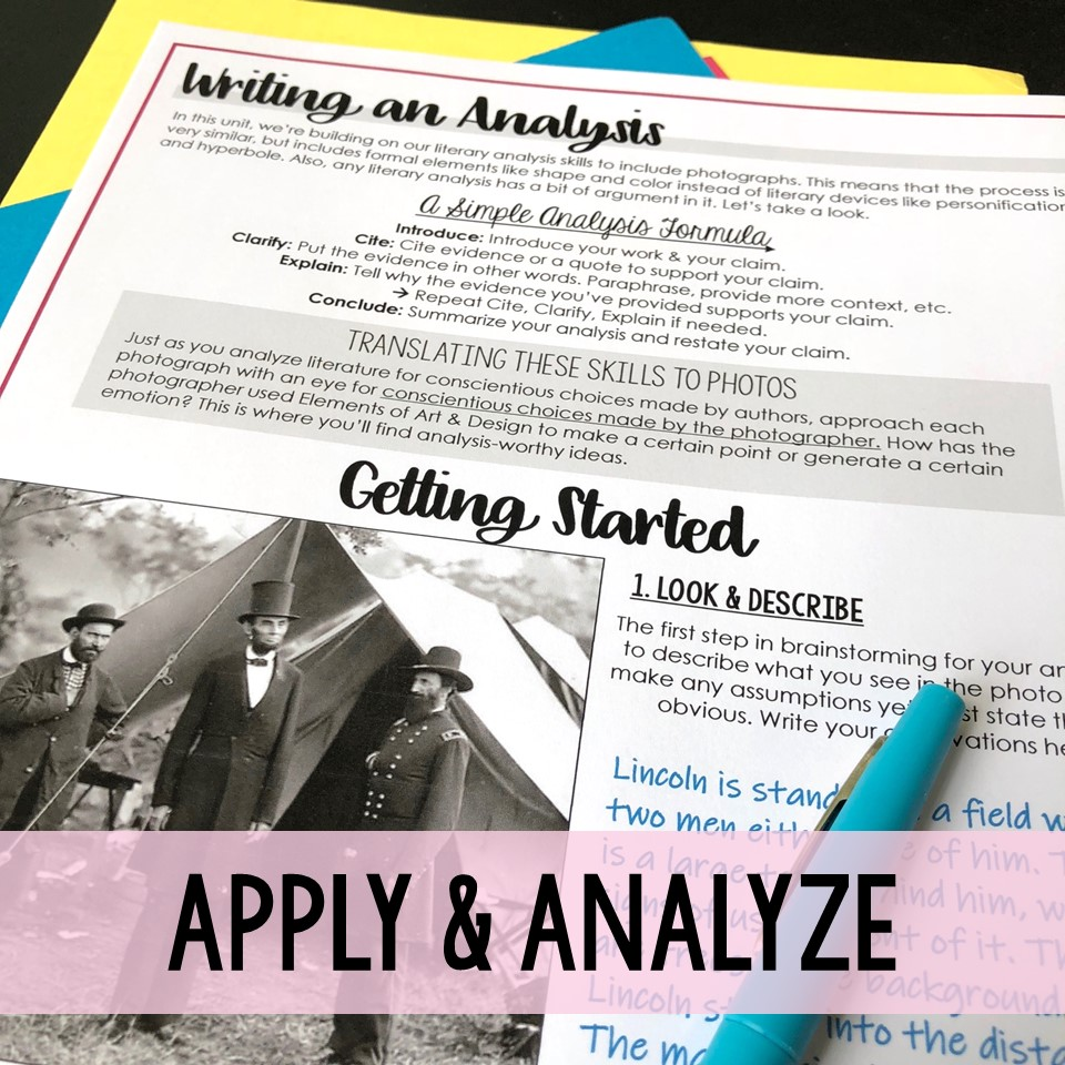 Teaching Photo Analysis apply and analyze