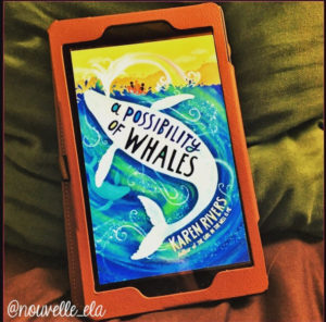 An eReader displaying the cover of A Possibility of Whales