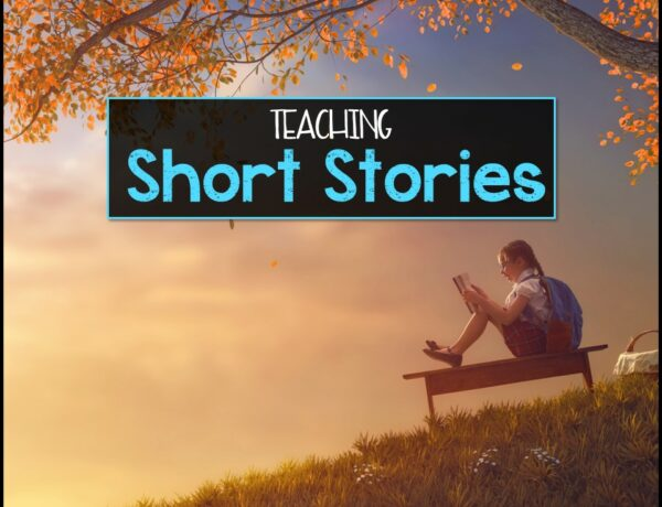 """A young girl reading under a tree with the text overlayed """"Teaching Short Stories"""""""
