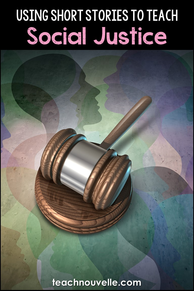 Gavel in front of a pastel background with the text Using Social Justice to Teach Short Stories