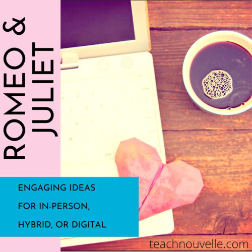 "A cup of coffee next to a laptop with the text ""Romeo & Juliet. Engaging ideas for in-person, hybrid, or digital."""