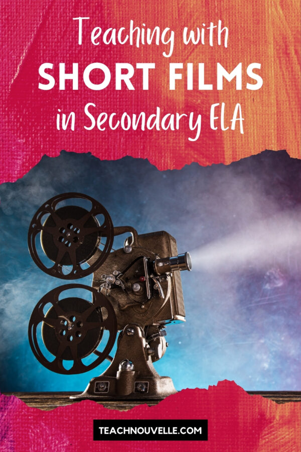 A film projector on a purple and blue background. There is a pink border at the top with text that says Short Films for Secondary ELA and the border at the bottom says teachnouvelle.com
