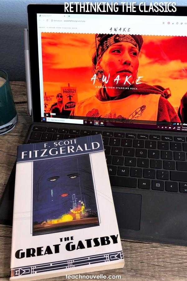 """A photo of a laptop with the book The Great Gatsby by F. Scott Fitzgerald on the keyboard. White text at the top of the image reads """"Rethinking the Classics"""""""