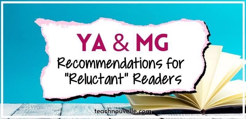 """A light blue background with an open book in the foreground. There is a white overlay with the text """"YA & MG Recommendations for Reluctant Readers"""