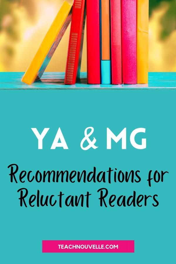 """A photo of a light blue shelf with a stack of brightly colored yellow, pink, and red books. Below that is the text """"YA & MG Recommendations for Reluctant Readers"""""""