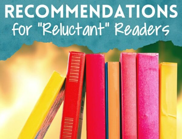 """A photo of a stack of brightly colored yellow, red, and pink books. Above the books is a blue splash with the text """"YA & MG Recommendations for Reluctant Readers"""""""