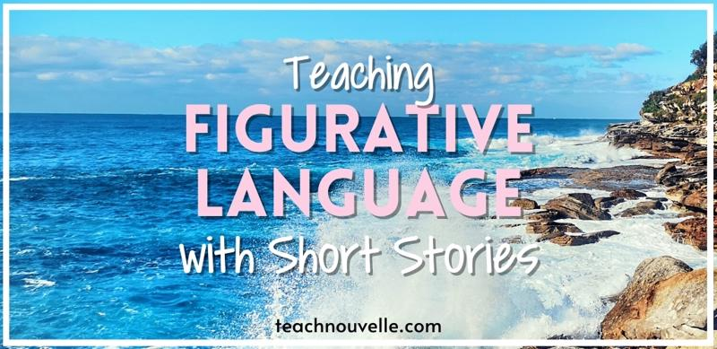 """The background is a photo of a rocky coast and blue sky. There is pink and white text that reads """"Teaching Figurative Language with Short Stories"""""""