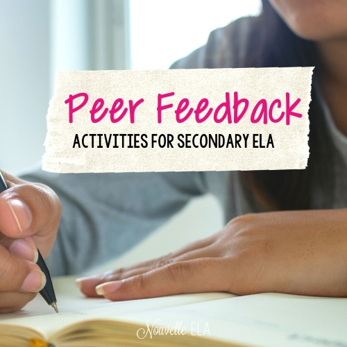 """The background is a photo of a girl sitting a writing with a pen. Overlaid is a cream colored stripe with the text """"Peer Feedback Activities for Secondary ELA"""""""