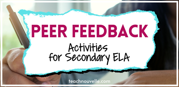 """The background is a photo of a caucasian hand holding a pen and writing. Overlaid is a white and blue splash with the text """"Peer Feedback Activities for Secondary ELA"""""""