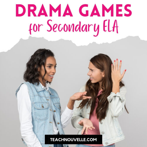 """A photo of two teen girls talking. Above the photo is a white border with pink text reading """"Drama Games for Secondary ELA"""""""