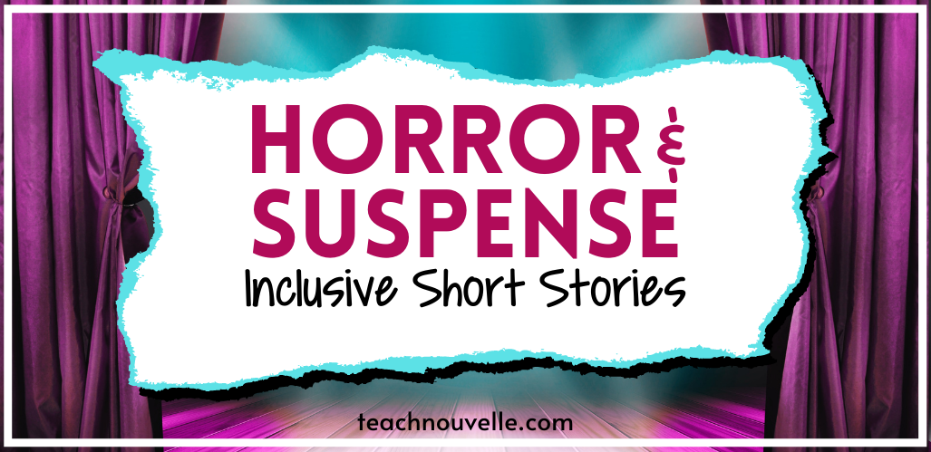 """A photot of a stage with purple curtains and purple and blue lighting. There is a white rectangle in the center of the image with pink and black text reading """"Horror & Suspense - Inclusive Short Stories"""""""