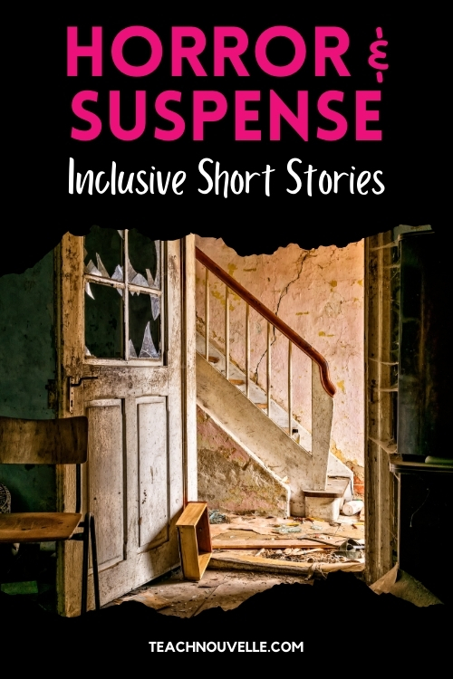 """A photo of the interior of an abandoned house. There is peeling paint, broken glass, and a crumbling staircase. The image has a black border at the top and bottom with pink and white text reading """"Horror & Suspense - Inclusive Short Stories"""""""