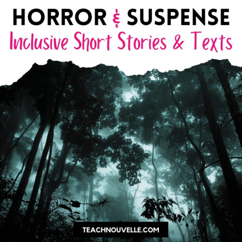 """A photo of a dark, foggy forest with a white banner at the top of the image and black and pink text reading """"Horror & Suspense - Inclusive Short Stories & Texts"""""""