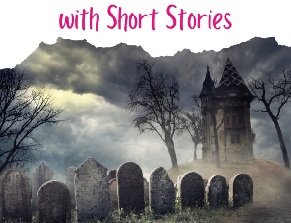 """A photo of a foggy graveyard with a white border at the top and pink text reading """"Teaching Suspense with Short Stories"""""""