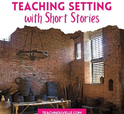 """A photo of a brick walled room with antique looking barrels and wooden tables. There is a white border at the top with the pink text """"Teaching Setting with Short Stories"""""""