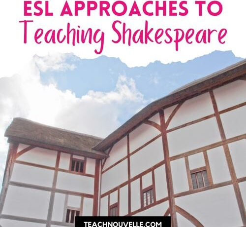 """A photo of the Globe Theatre, a large Elizabethan style building. There is a white border at the top of the photo with pink text that reads """"ESL Approaches to Teaching Shakespeare"""""""