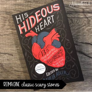 "Photo of the book ""His Hideous Heart"" edited by Dahlia Adler on a wood background"