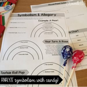 Symbolism and allegory worksheet with two Tootsie Pops on top of it