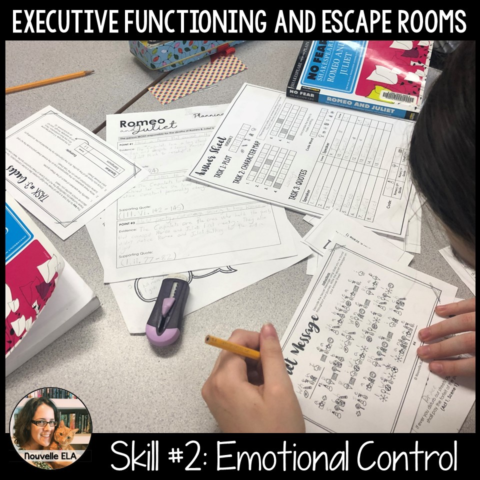 Executive Functioning and Escape Rooms - Skill #2: Emotional Control. Image shows a student working on decoding a secret message.