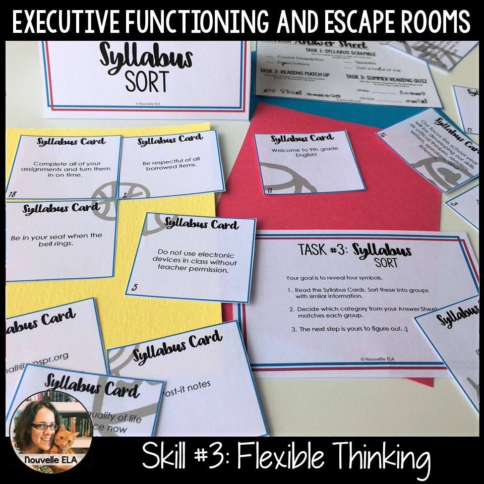 Executive Functioning and Escape Rooms - Skill #3: Flexible Thinking. Image shows clue cards that must be rotated to solve a jigsaw puzzle.