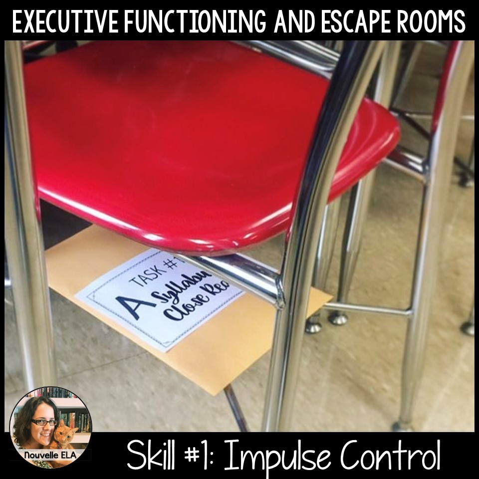 Executive Functioning and Escape Rooms - Skill #1: Impulse Control. Image shows a clue hidden under a chair.