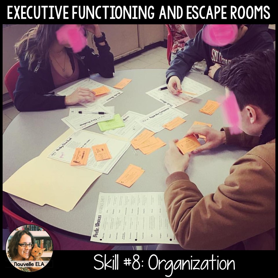Teaching Executive Functioning and Escape Rooms - Skill #8: Organization. Image shows students sorting color-coded clues.