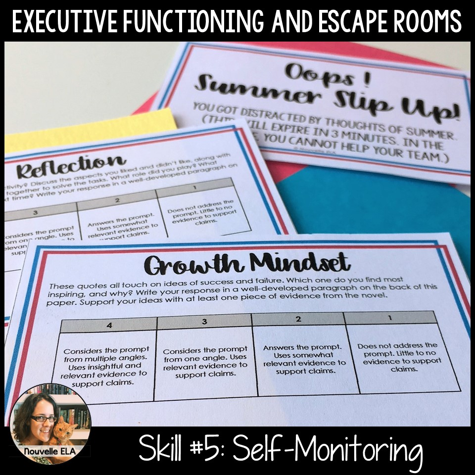 Executive Functioning and Escape Rooms - Skill #5: Self-Monitoring. Image shows a reflective prompt students complete after their escape room experience.