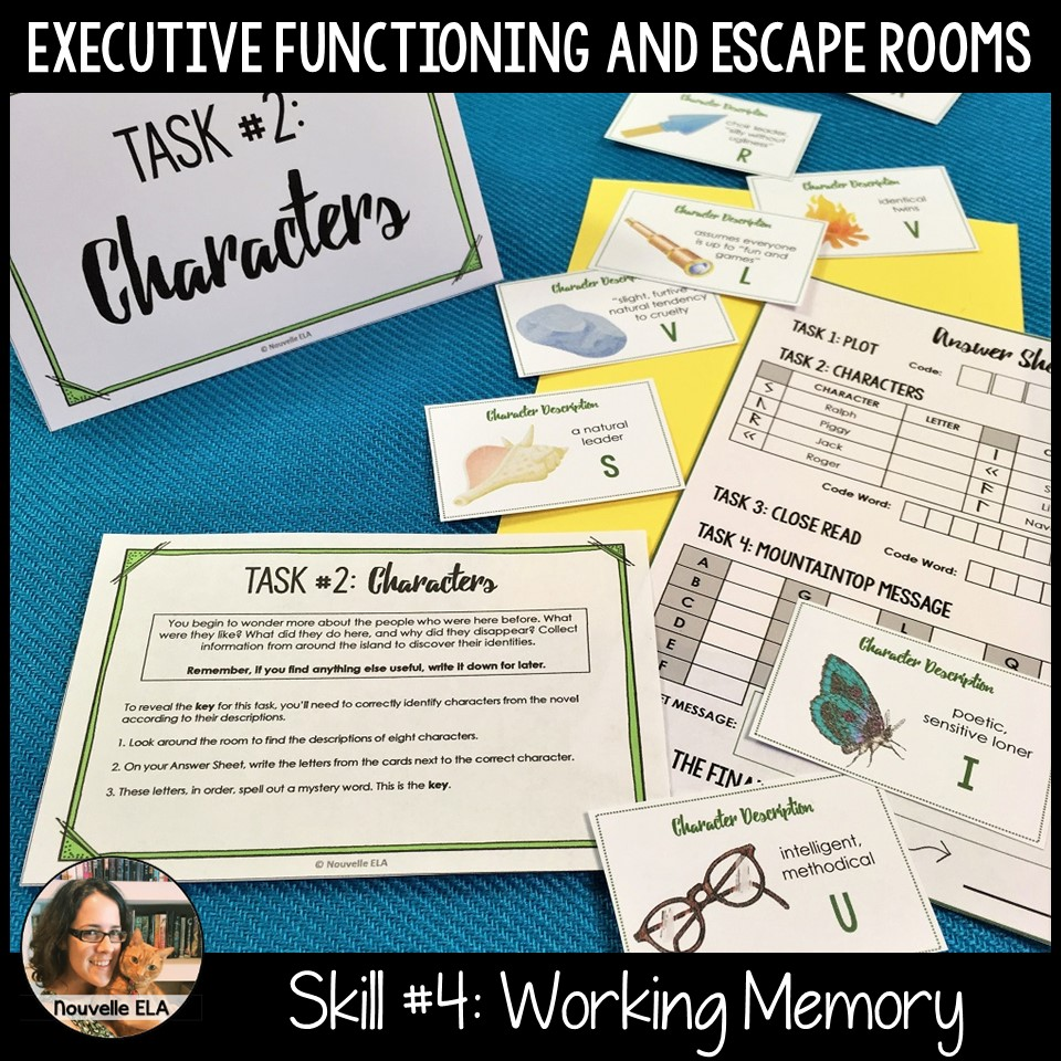 Executive Functioning and Escape Rooms - Skill #4: Working Memory. Image shows clues that rely on information gleaned from the novel Lord of the Flies.
