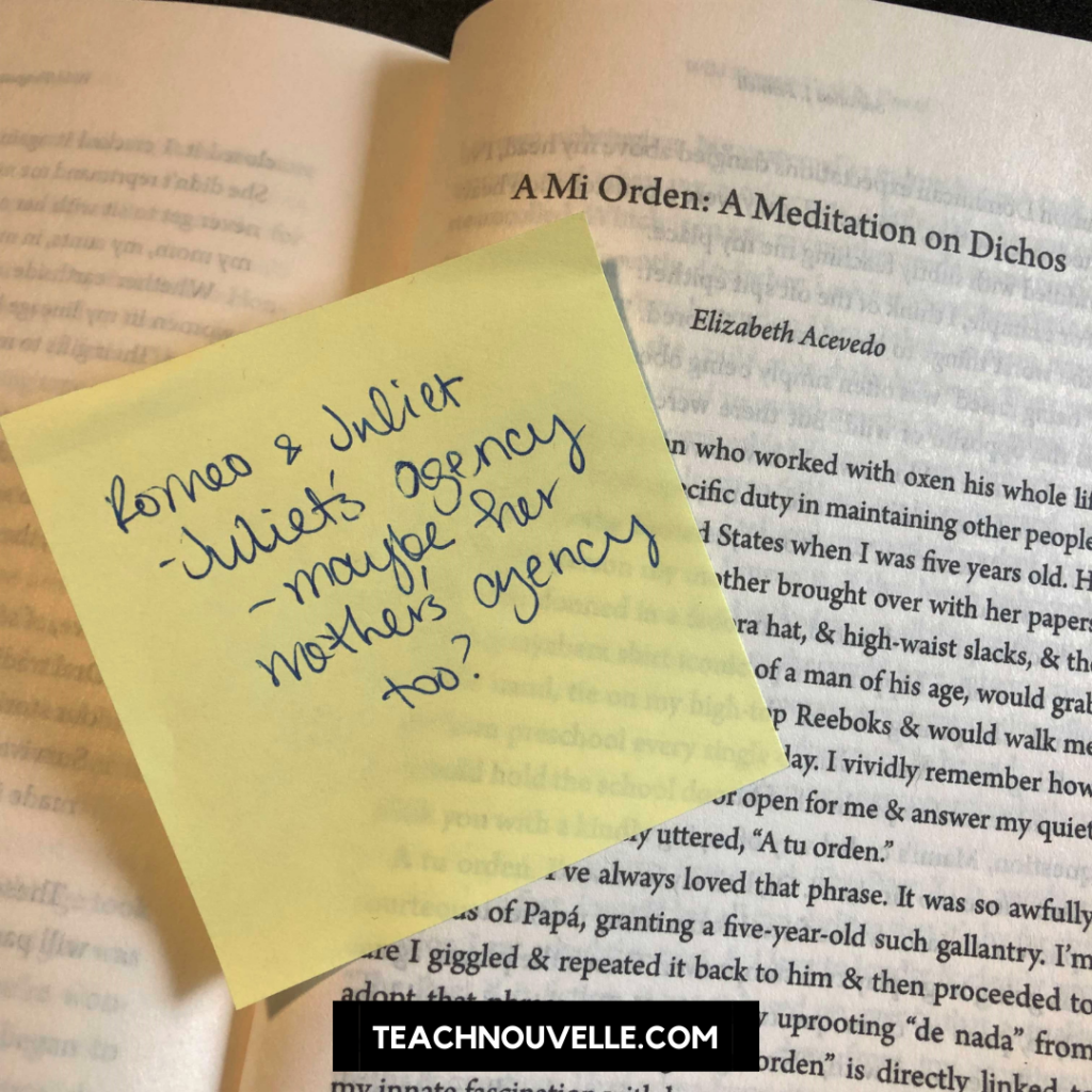 """A photo of an open book with a yellow sticky note on the page. In cursive handwriting it reads """"Romeo & Juliet. -Juliet's agency -Maybe her Mother's agency too?"""
