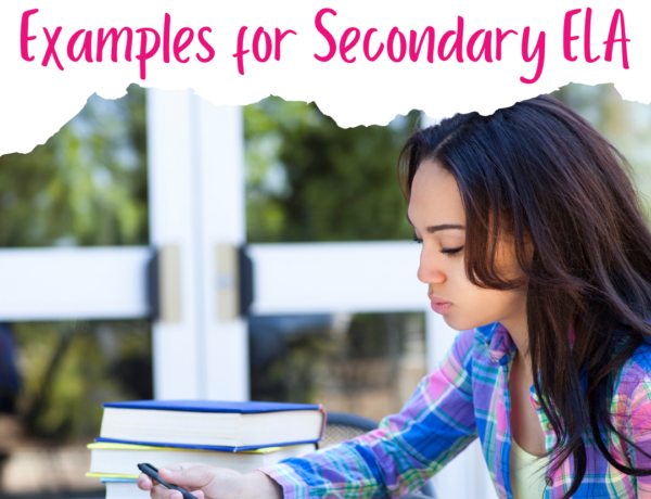 """A photo of a dark haired girl wearing a plaid shirt and sitting at a table writing in a notebook. There's a white border at the top with pink text that reads """"Personal Narrative Examples for Secondary ELA"""""""